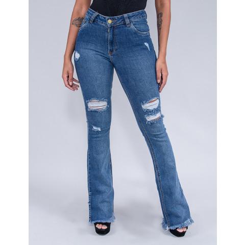 Calça Jeans Flare Feminina Revanche Afrodite Azul Frente