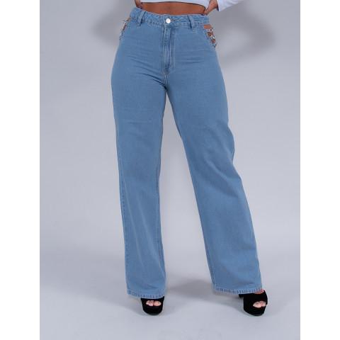 Calça Jeans Wide Leg Cut Out Pocket Feminina Revanche Perséfone Azul Frente