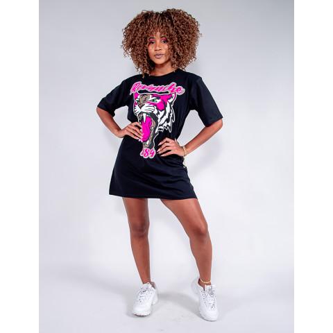 Vestido T-Shirt Feminino Revanche Luiza Preto Frente