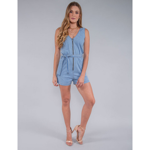 Macaquinho Jeans Feminino Revanche Filipa Azul Look