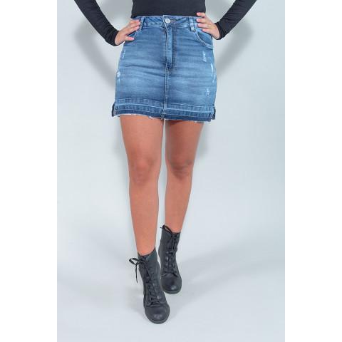 Saia Shorts Jeans Feminina Revanche Noeline Azul