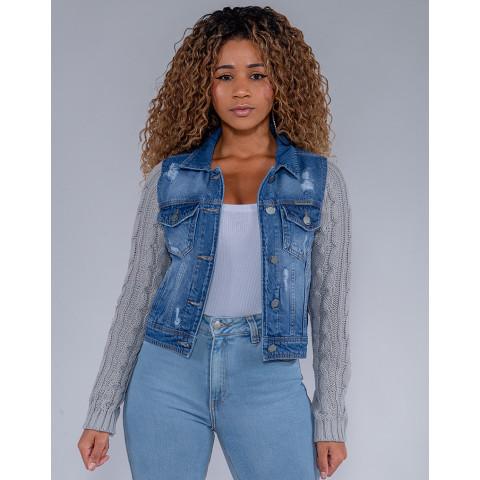 Jaqueta Jeans Feminina Revanche Adelynn Azul Frente