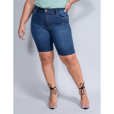 Shorts Jeans Plus Size Feminino Revanche Emanuelly Azul Frente