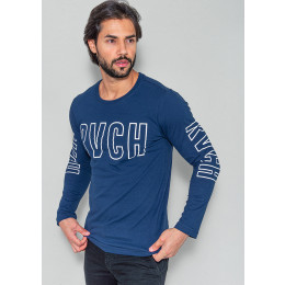 Camiseta Manga Longa Masculina Revanche Geoffroy Azul