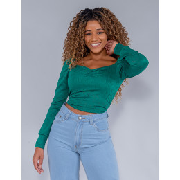 Blusa Cropped Feminina Revanche Anelita Verde