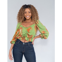 Blusa Cropped Feminina Revanche Khushi Verde