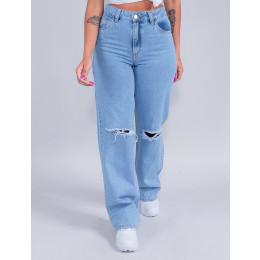 Calça Jeans Wide Leg Feminina Revanche Lidiane Azul