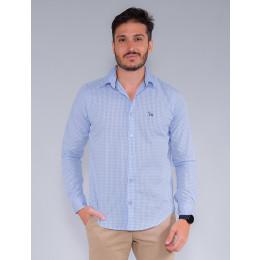 Camisa Xadrez Manga Longa Masculina Revanche Matheus Azul Claro